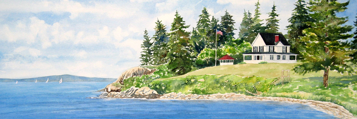 Somesville Bridge, Original watercolor painting by Beth Whitney | DowneastWatercolors.com