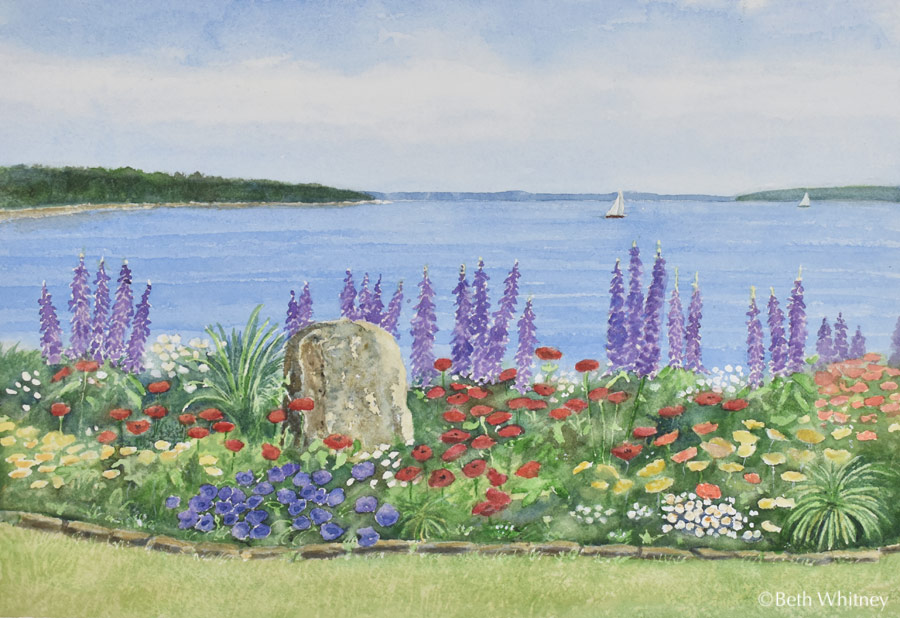 Seaside Garden, an original watercolor painting by Beth Whitney