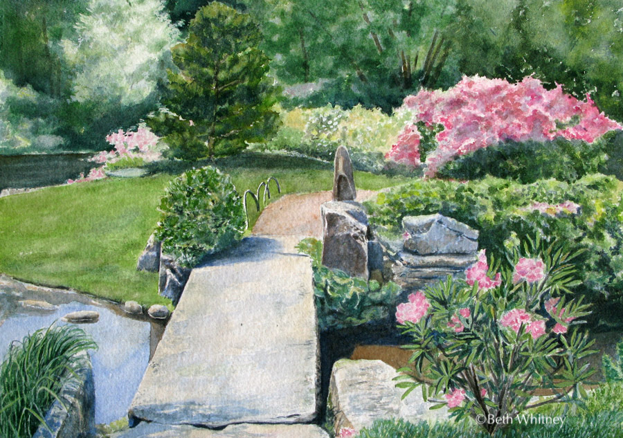 Painting by Beth Whitney of the stone bridge at the Asticou Azalea Garden in Northeast Harbor, Maine.  | DowneastWatercolors.com