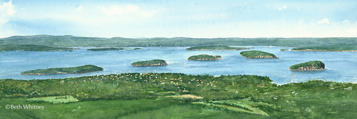 Bar Harbor view looking down from Cadillac Mountain, original watercolor painting by Beth Whitney | DowneastWatercolors.com
