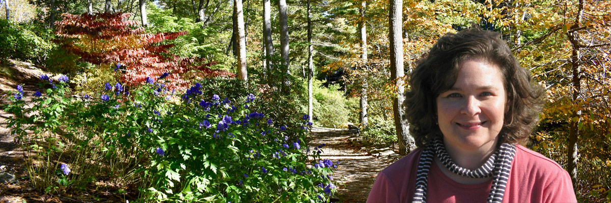Beth Whitney, watercolor painter, at the Coastal Maine Botanical Garden