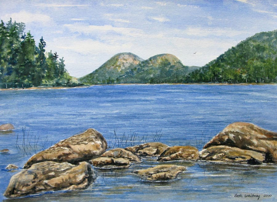 """""""The Bubbles on Jordan Pond"""" watercolor painting by Beth Whitney 
