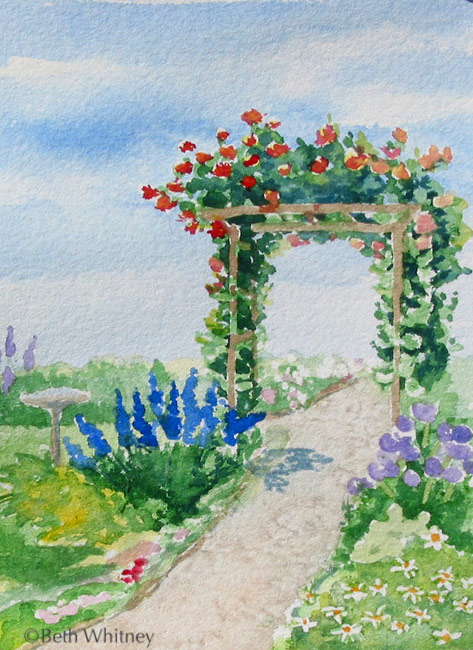 Painting of a flowering pergola by Beth Whitney | DowneastWatercolors.com