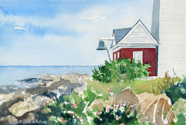 Foghouse at Pemaquid Point Lighthouse, painting by Beth Whitney | DowneastWatercolors.com