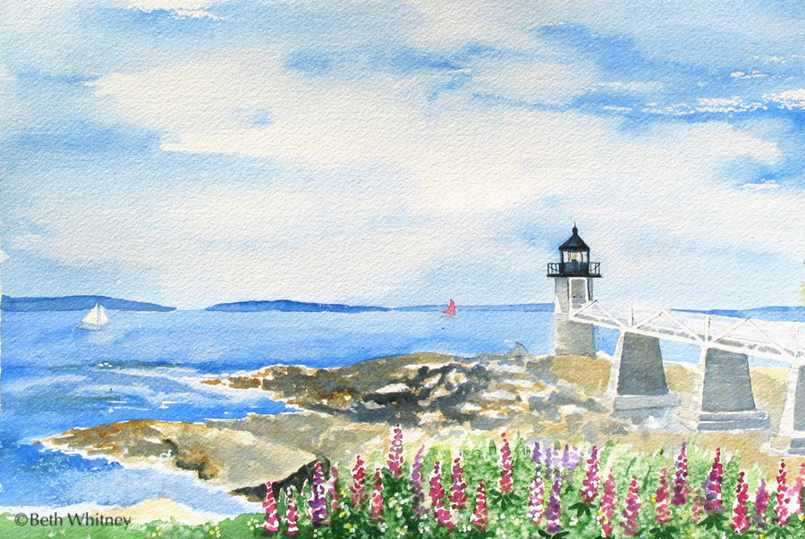Marshall Point Light, an original watercolor painting by Beth Whitney