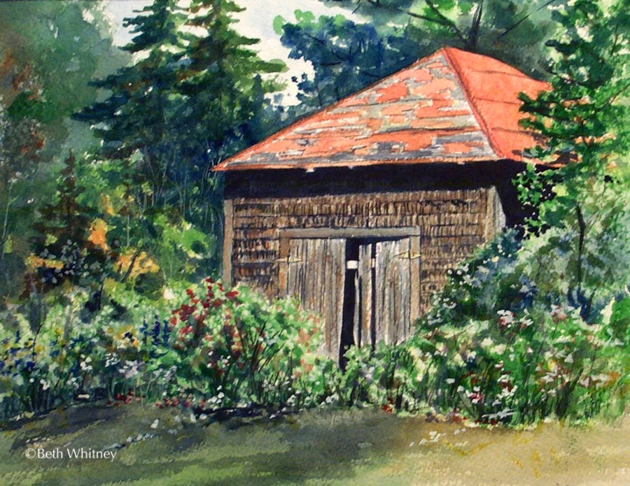 The Old Shed, an original Maine watercolor painting by Beth Whitney