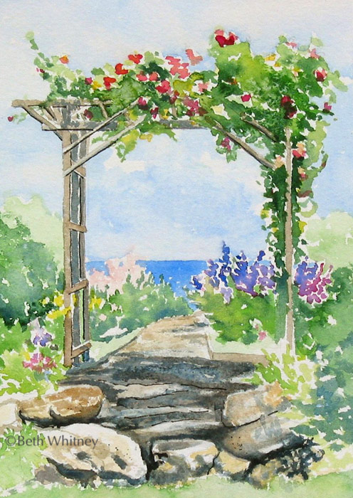 """Pergola in Bloom,"" original watercolor painting by Beth Whitney 