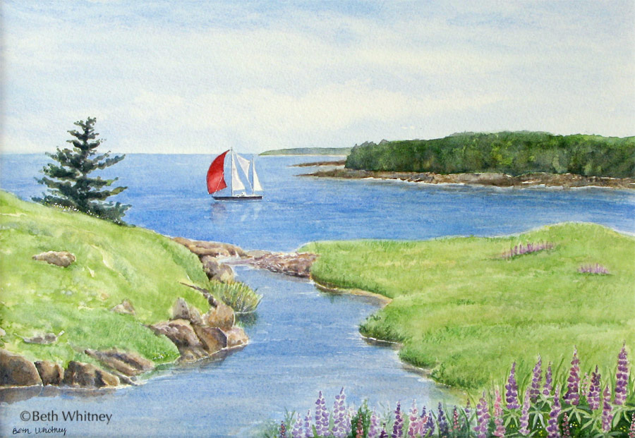Prospect Harbor, an original Maine watercolor painting by Beth Whitney