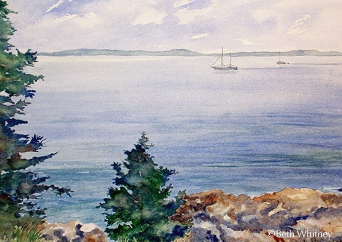 Sailing, an original Maine watercolor painting by Beth Whitney