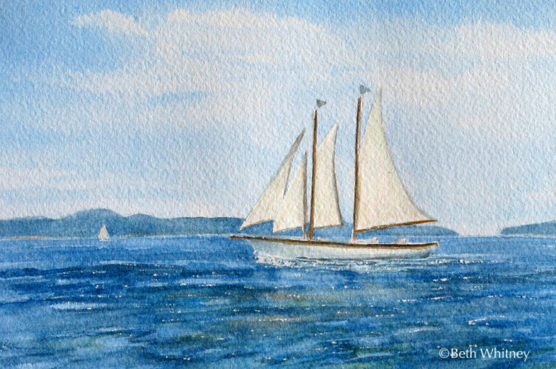 Sailing II, an original Maine watercolor painting by Beth Whitney
