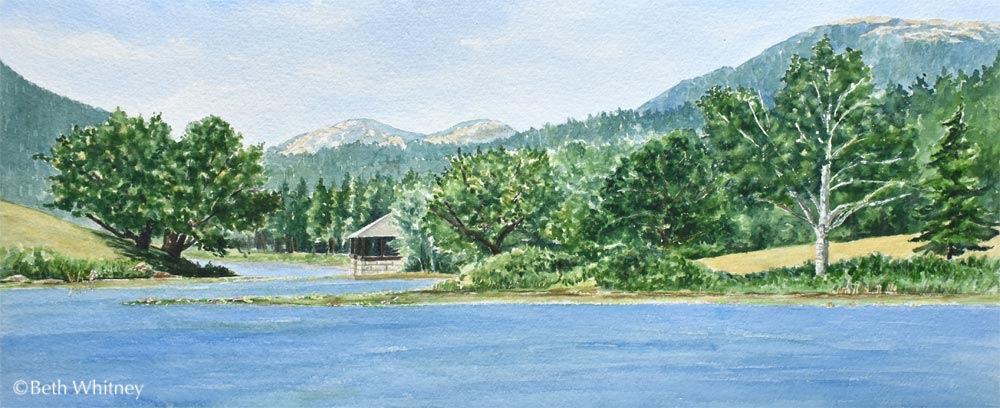 Painting of Little Long Pond in Seal Harbor, Maine by artist Beth Whitney | DowneastWatercolors.com