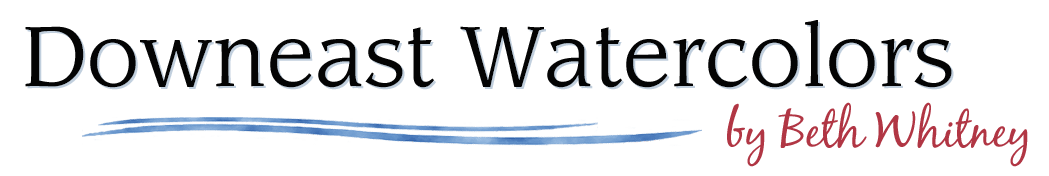 Logo for Downeast Watercolors online painting gallery