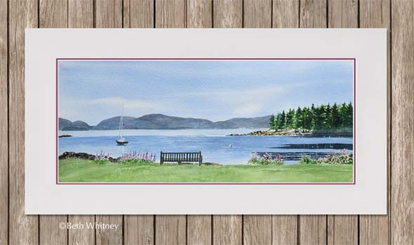 Watercolor painting of calm ocean, wildflowers, and mountains in Maine