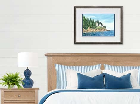 Bass Harbor Lighthouse framed painting in bedroom