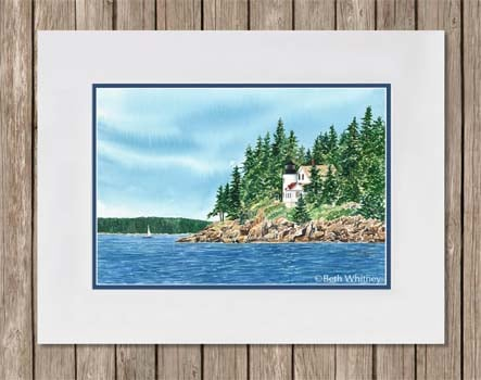 Matted painting of Bass Harbor Lighthouse in Maine