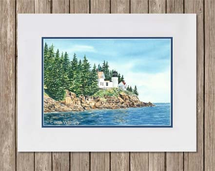Bass Harbor Lighthouse matted painting