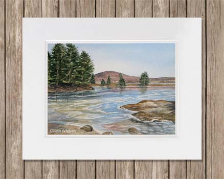 Watercolor painting of winter ice and ocean in Blue Hill, Maine