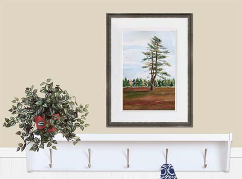 Painting of a pine tree in fiery red blueberry barrens in downeast Maine.