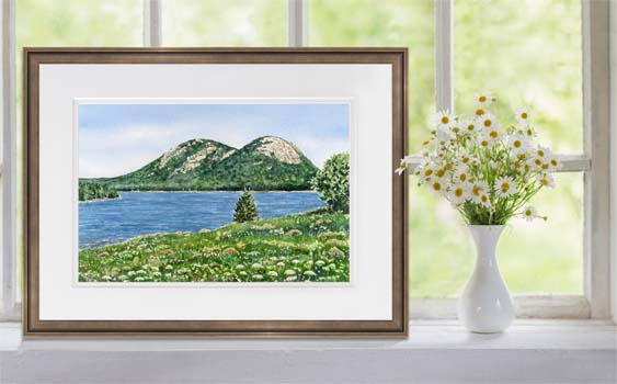 Painting of The Bubbles mountains and Jordan Pond in Acadia National Park