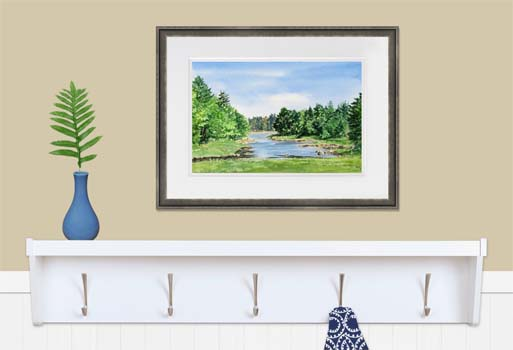 Framed landscape painting in a mudroom