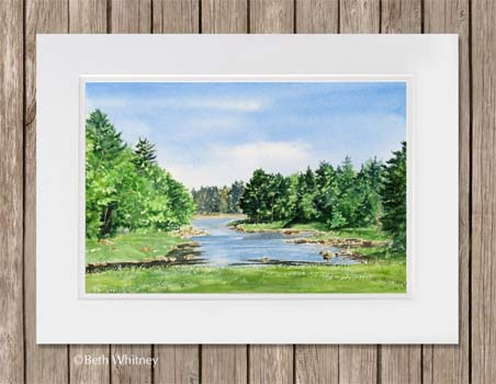 Painting of a carrying place with stream and trees in Maine