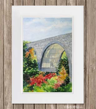 Painting of Duck Brook Bridge in Acadia National Park by Beth Whitney