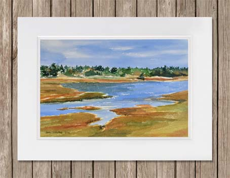 Painting of Duck Brook in Acadia National Park, Maine by artist Beth Whitney | DowneastWatercolors.com
