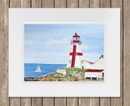 Painting of East Quoddy Light on Campobello Island, New Brunswick by Beth Whitney