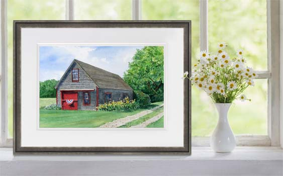 Friendship Barn painting framed and displayed on windowsill