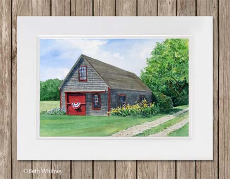 Friendship Barn painting matted on wood background