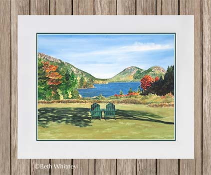 """The Invitation,"" an original watercolor painting of Jordan Pond in Acadia by Beth Whitney 