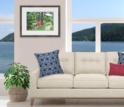 Lily Pond watercolor painting framed and displayed over a sofa