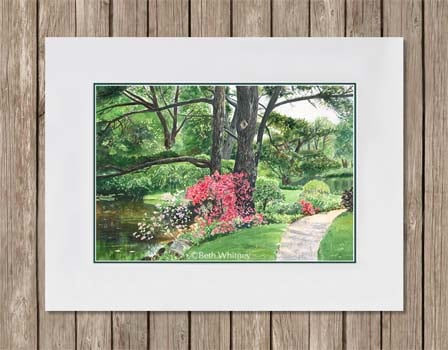 Lily Pond watercolor painting with double mat