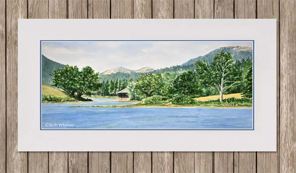 Panoramic painting of Little Long Pond in Seal Harbor, Maine by Beth Whitney