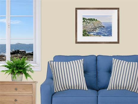 Framed watercolor painting of Whitehead Cliff on Monhegan Island, Maine