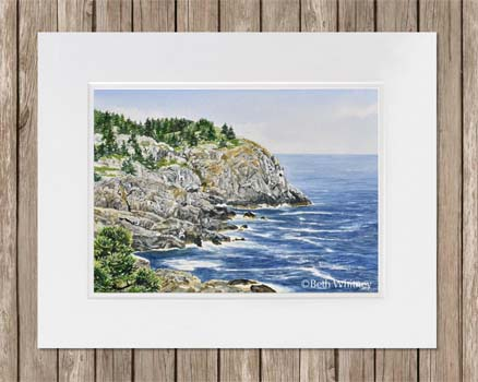 Watercolor painting of Whitehead Cliff on Monhegan Island, Maine