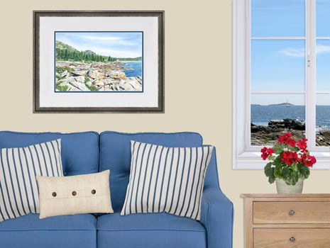 Watercolor painting of Ocean Drive in Acadia National Park, Maine by Beth Whitney