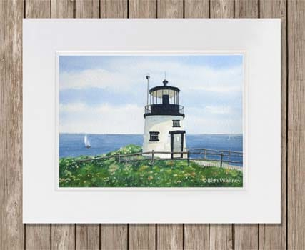 Owls Head Lighthouse painting with white mat