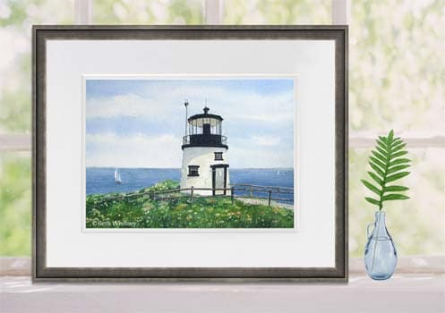 Owls Head Lighthouse painting framed on windowsill
