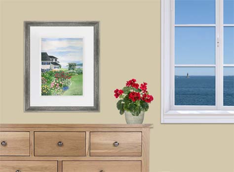 Seaside Garden painting framed with red geraniums and window
