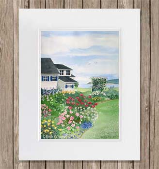 Matted Seaside Arbor painting