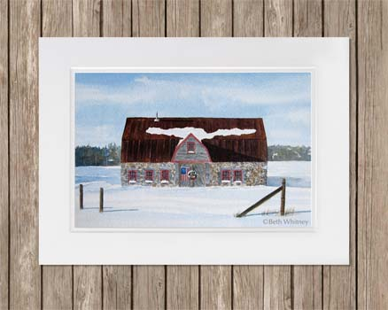 Winter painting of the historic stone barn in Salsbury Cove, MDI, Maine by artist Beth Whitney