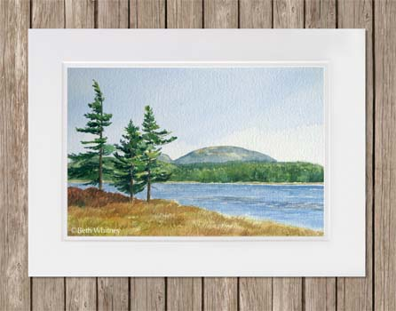 Painting of Witch Hole Pond and mountains in Acadia National Park