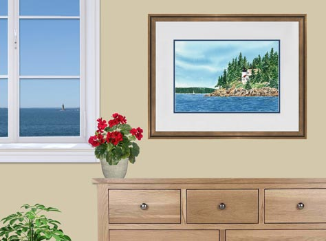 Framed painting of Bass Harbor Lighthouse by artist Beth Whitney | DowneastWatercolors.com