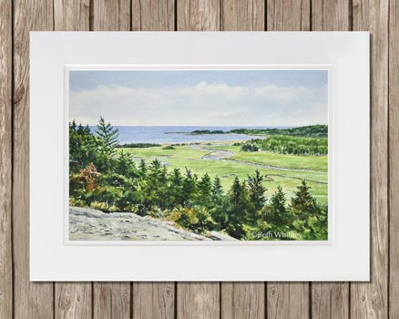 Painting of Morse Mountain by Beth Whitney | DowneastWatercolors.com