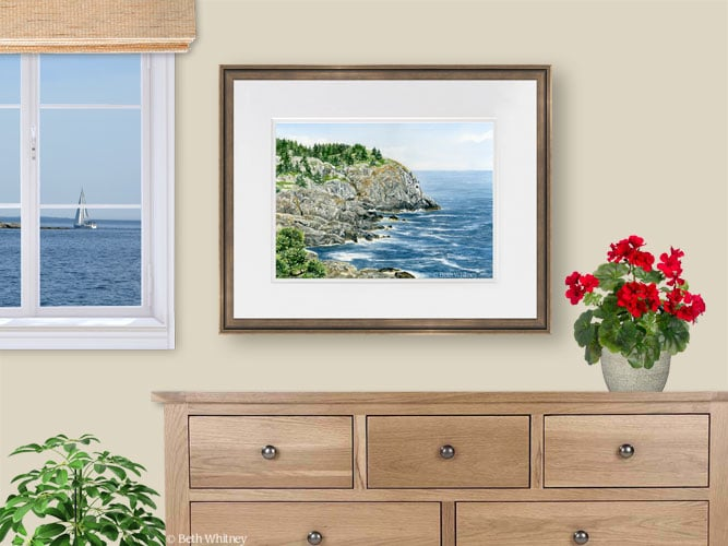 Painting of Whitehead over a dresser with red geraniums by Beth Whitney