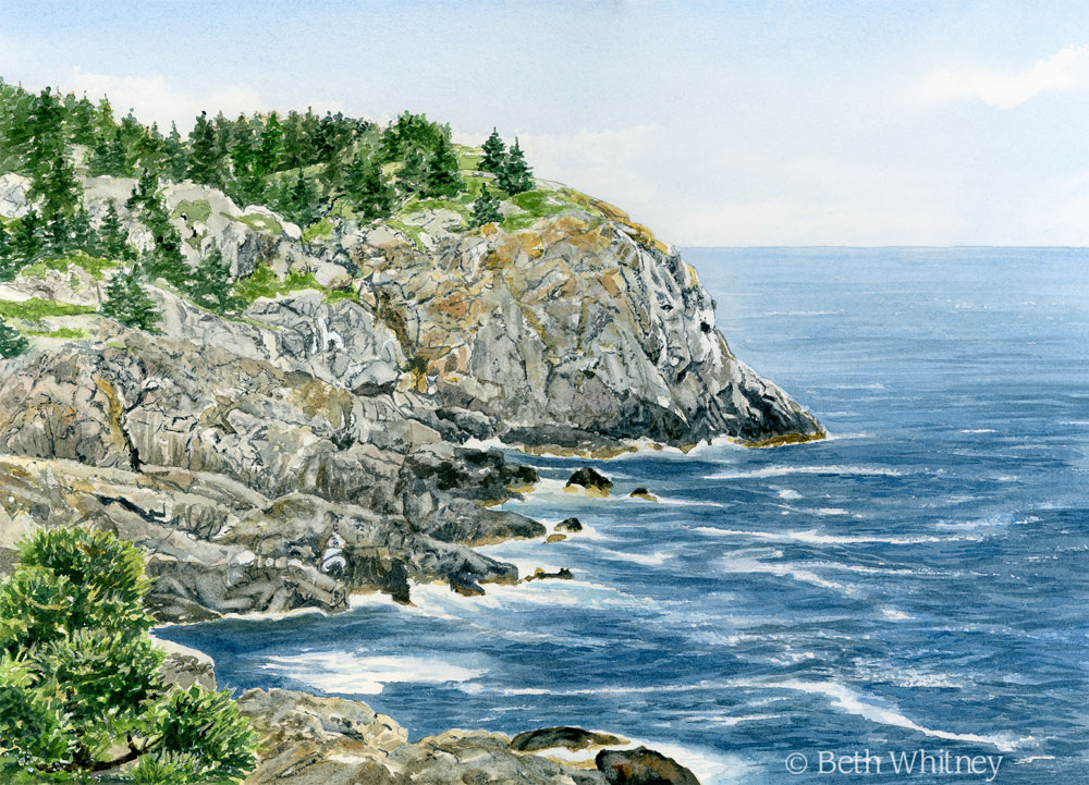 Watercolor painting of Whitehead cliff on Monhegan Island, Maine by artist Beth Whitney | Downeast Watercolors