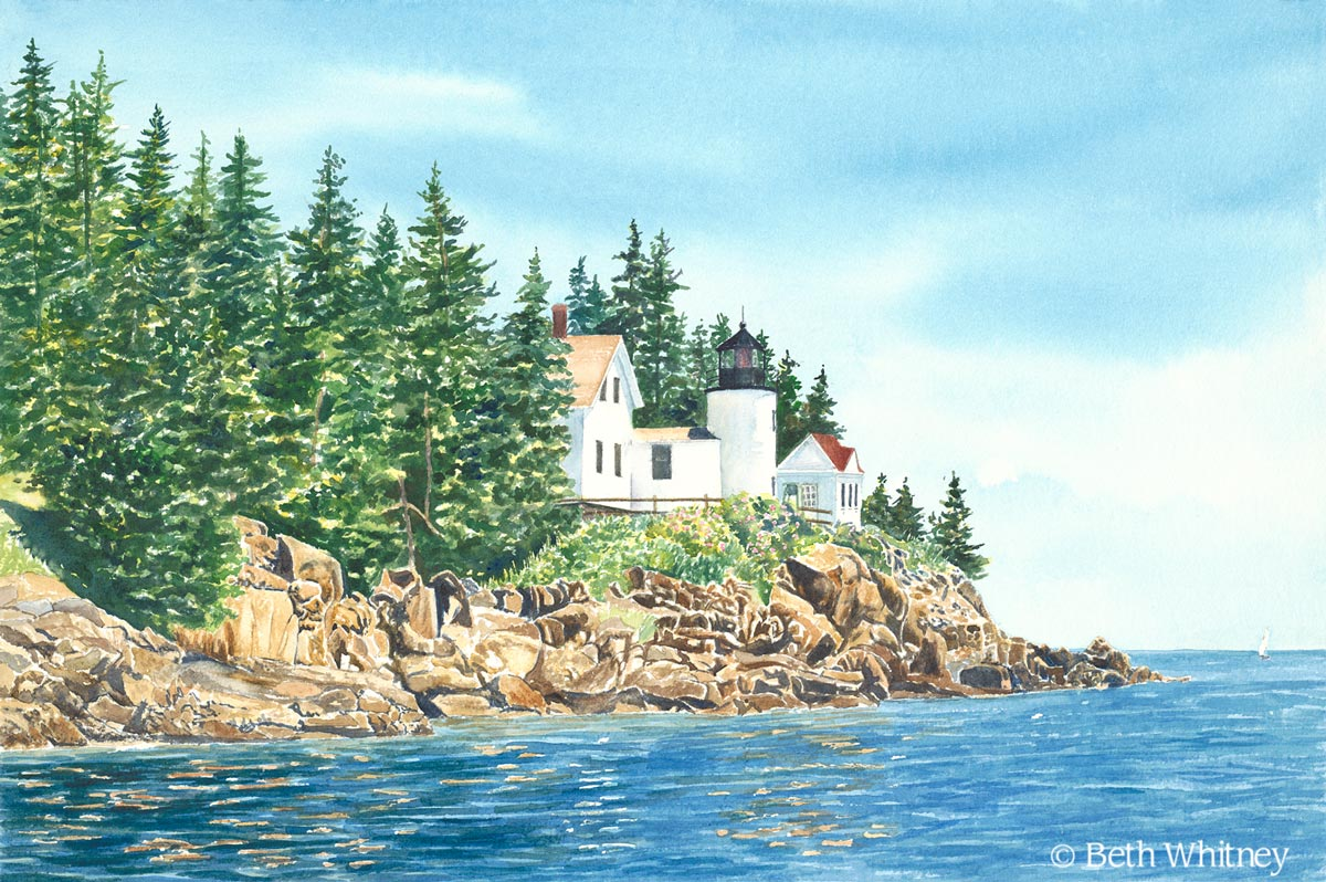 Painting of Bass Harbor Lighthouse on MDI in Maine by artist Beth Whitney | DowneastWatercolors.com