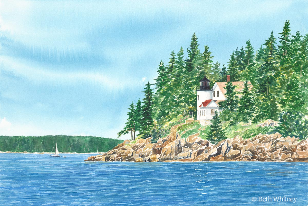 """Bass Harbor Light, RIght View,"" an original watercolor painting by Beth Whitney 