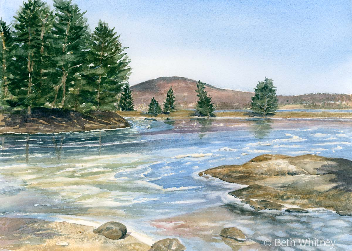 Painting of Blue Hill Harbor in winter by artist Beth Whitney | DowneastWatercolors.com